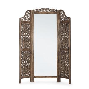 Paravan decorativ cu oglinda din lemn maro Tejal 130 cm x 2.5 cm x 180 h