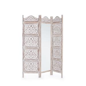Paravan decorativ cu oglinda din lemn maro patinat Alyssia 130 cm x 2.5 cm x 180 h