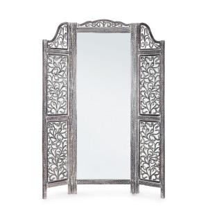 Paravan decorativ cu oglinda din lemn gri antichizat Ajala 130 cm x 2.5 cm x 180 h