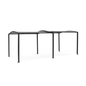 Pavilion de gradina cu cadru din fier negru si copertina gri Nolan 294.5 cm x 304/568 cm x 242 h