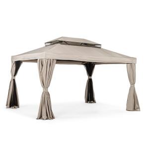Pavilion de gradina cu cadru din fier copertina bej Lerici 300 cm x 400 cm x 275 h