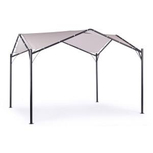 Umbrar de gradina cu piciore din fier negru si copertina textil gri Dome 350 cm x 350 cm x 260 h