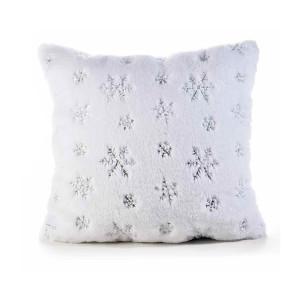 Perna Craciun din textil pufos alb cu paiete argintii 45x45 cm