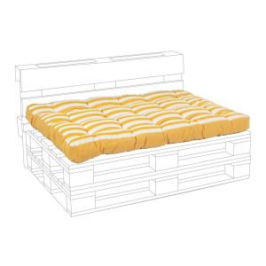 Perna sezut bancuta paleti din textil galben alb 120 cm x 80 cm x 15 h