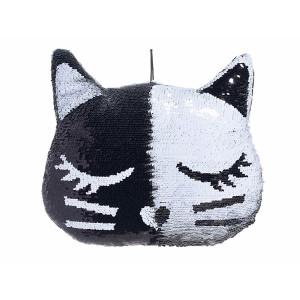 Perna decorativa suspendabila cu paiete reversibile negre argintii Pisica 36 cm x 32 h