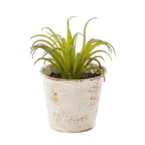 Planta artificiala suculenta verde in ghiveci metal alb patinat 10 cm x 10 cm x 11 h