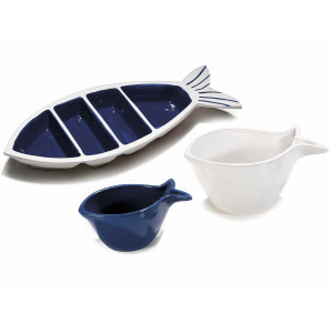 Set platou compartimentat cu 2 boluri din ceramica albastra alba 31.5 cm x 21.5 h
