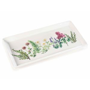 Platou din portelan alb decorat cu flori 30 cm x 14,5 cm
