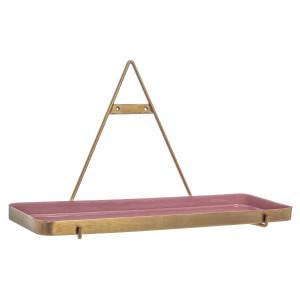 Raft fier forjat gri roz de perete 39 cm x 21 cm x 30 h