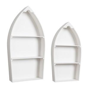 Set 2 rafturi de perete din mdf alb Boat 49 cm x 13 cm x 97 h