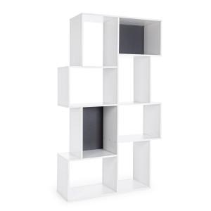 Biblioteca mdf alb si gri antracit 8 polite Arctic 104.7 cm x 35 cm x 182 h