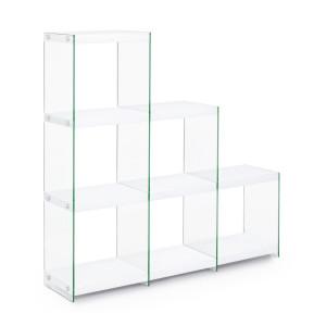 Biblioteca mdf alb si sticla 6 polite Sury 122 cm x 29.5 cm x 120 h