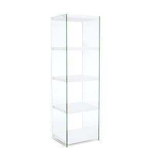 Biblioteca mdf alb si sticla 4 polite Sury 48.5 cm x 39 cm x 160 h