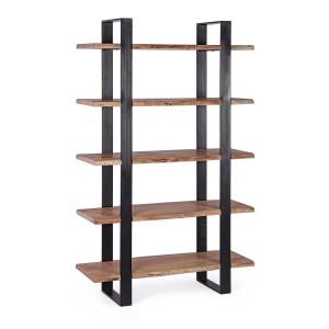Raft fier negru cu 5 polite lemn natur Artur 110 cm x 40 cm x 180 h