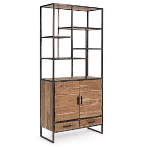 Biblioteca lemn natur si fier negru cu patina argintie Elmer 90 cm x 40 cm x 200 h