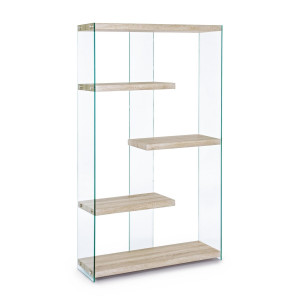 Biblioteca mdf natur si sticla 4 polite Sury 91.5 cm x 30 cm x 160 h