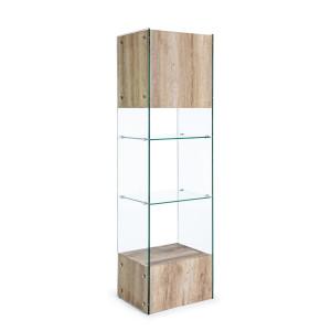 Vitrina mdf natur si sticla Melania 50 cm x 40 cm x 182.5 h