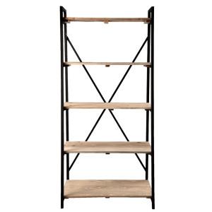 Raft din fier negru cu 5 polite din lemn natur 90 cm x 47 cm x 191 h