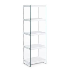 Biblioteca mdf alb si sticla 5 polite Line 40 cm x 30 cm x 131 h