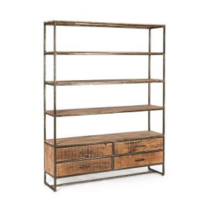 Biblioteca cu 4 polite si 4 sertare din fier gri patinat si lemn maro Elmer 145 cm x 35 cm x 190 h