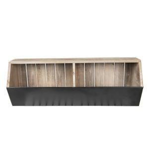 Raft de perete cu 2 compartimente depozitare din lemn natur fier maro 71 cm x 18 cm x 26 h