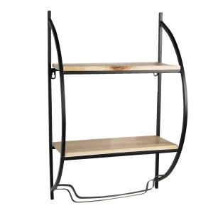 Etajera suspendabila cu 2 polite din lemn natur si suport prosop cadru din fier negru 40 cm x 20 cm x 63 h