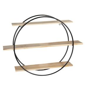 Etajera suspendabila cu 3 polite din lemn natur si cadru din fier negru 80 cm x 16 cm x 60 h