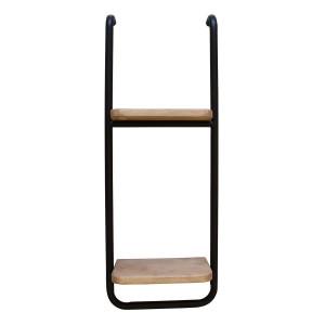 Etajera suspendabila cu 2 polite din lemn natur si cadru din fier maro 30 cm x 15 cm x 80 h