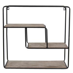 Etajera suspendabila cu 3 polite din lemn si cadru din fier negru 49 cm x 16 cm x 49 h