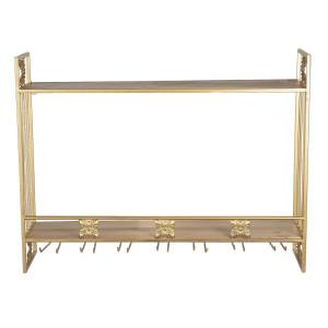 Etajera suspendabila cu 2 polite si 14 agatatori din fier auriu 80 cm x 22 cm x 61 h