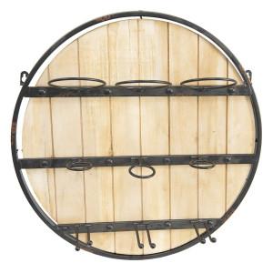 Suport de perete pentru sticle de vin din lemn natur si fier maro antichizat Ø 50 cm x 14 cm