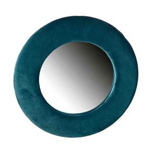 Oglinda de perete cu rama din catifea albastru Ø 37 cm