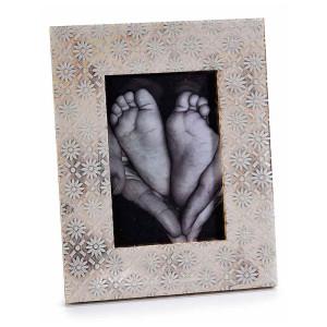 Rama foto de masa lemn alb vintage cm 15 x 19 H