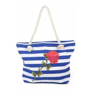 Geanta de plaja din stofa alba albastra Roses 44 cm x 12 cm x 31 / 54 h