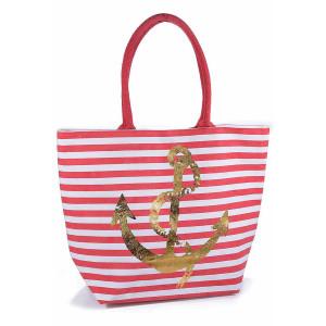 Geanta de plaja din bumbac alb rosu model Ancora 42 cm x 15 cm x 32 / 53 h