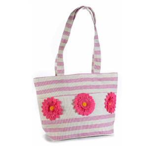 Geanta de plaja din textil crem roz decor Floral 45 cm x 14 cm x 31 / 60 h