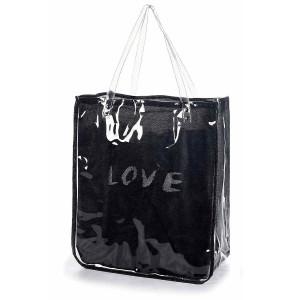Geanta de plaja din textil si pvc negru Love 40 cm x 20 cm x 46 / 66 h