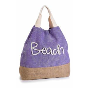 Geanta de plaja din bumbac cu efect de jeans albastru Beach 50 cm x 13 cm x 42 / 56 h