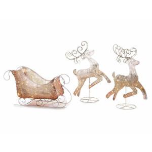 Sanie decorativa cu 2 Reni cu leduri din metal auriu 77x31x44 cm