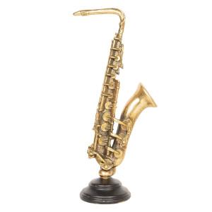 Saxofon decorativ polirasina auriu 16 cm x 10 cm x 38 cm