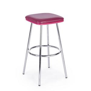 Scaun de bar picioare crom cu sezut piele ecologica roz Agnes 38 cm x 38 cm x 75 h