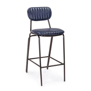Scaun de bar cu spatar picioare fier negru si sezut piele ecologica albastra Debbie 44 cm x 51 cm x 100 h x 74 h1