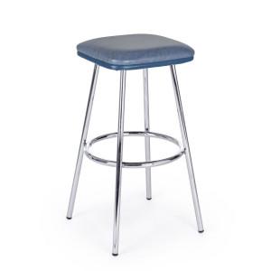 Scaun de bar picioare crom cu sezut piele ecologica albastra Agnes 38 cm x 38 cm x 75 h