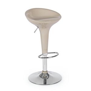 Scaun de bar picior crom cu sezut plastic bej Nashville 38 cm x 40 cm x 67/87.5 h x 57/78 h1