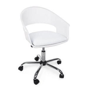 Scaun de birou ergonomic cu picior din crom argintiu si tapiterie piele ecologica alba Wells 50 cm x 57.5 cm x 72.5/82 h x 41.5/51 h1