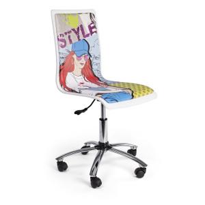 Scaun birou ergonomic cu picior din crom argintiu Young 42.5 cm x 40 cm x 87/99 h x 43.5/55.5 h1