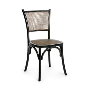 Scaun din lemn negru cu insertie rattan maro Carrel 45 cm x 53 cm x 89 h x 46 h1