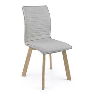 Scaun cu spatar picioare din fier cu aspect de lemn si tapiterie gri Klizia Debbie 43 cm x 55 cm x 89.5 h x 46 h1
