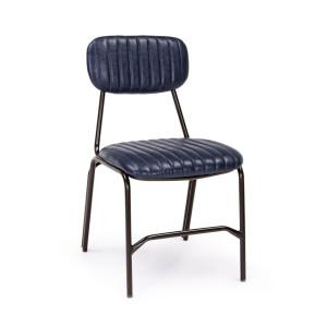 Scaun cu spatar picioare din fier si tapiterie piele ecologica albastra Debbie 44 cm x 55 cm x 73 h x 44 h1