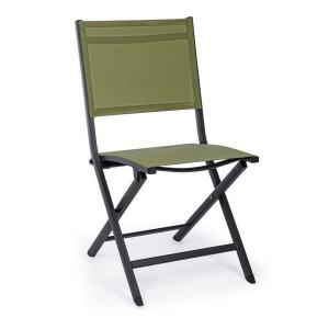 Scaun pliabil cu spatar din fier negru cu sezut verde Elin 47 cm x 57  cm x 88 h